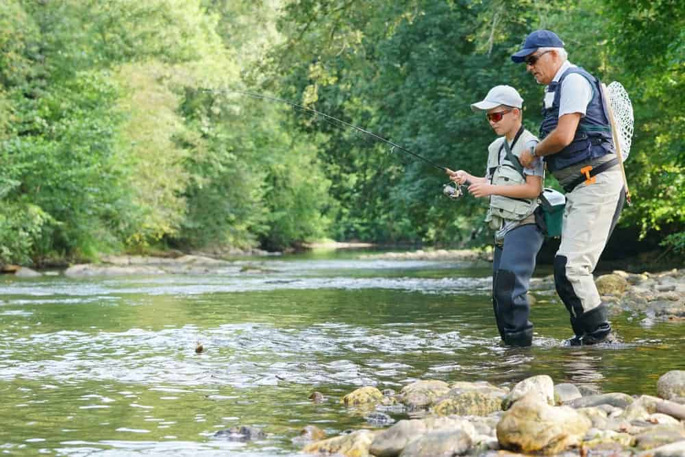father and son trout fishing in gatlinburg