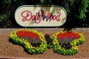 Dollywood butterfly decor at entrance to the theme park