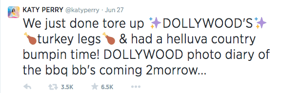 Katy Perry tweet about her visit to Dollywood