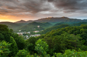 Aerial photo of Gatlinburg TN