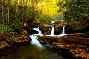 Smoky Mountain waterfall during the fall.