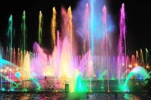 Colorful fountain show.