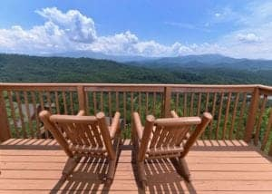 Chairs on the deck of the Amazing Views cabin rental.