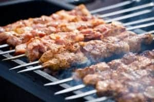 Meat kebabs on the grill.