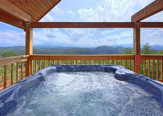 Hot tub on the deck of A Smokin View cabin in the Great Smoky Mountains.