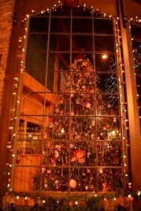 A stunning Christmas tree in downtown Gatlinburg TN at Christmas.