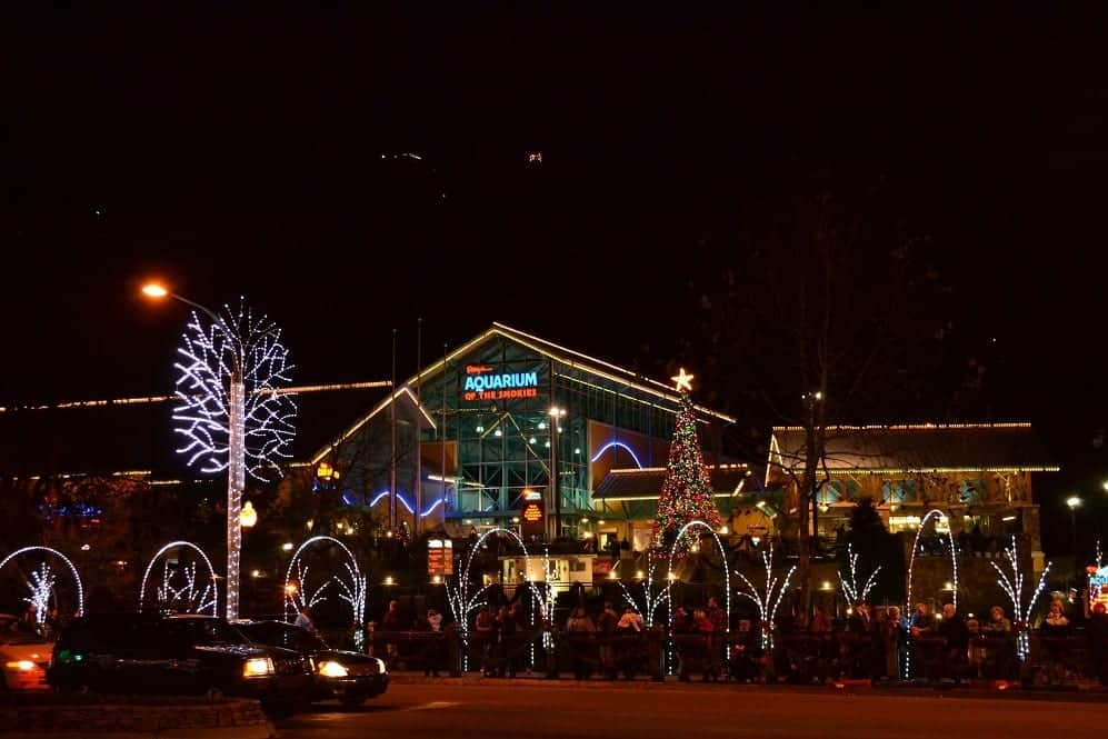 Gatlinburg TN Christmas lights in front of Ripley's Aquarium of the Smokies.