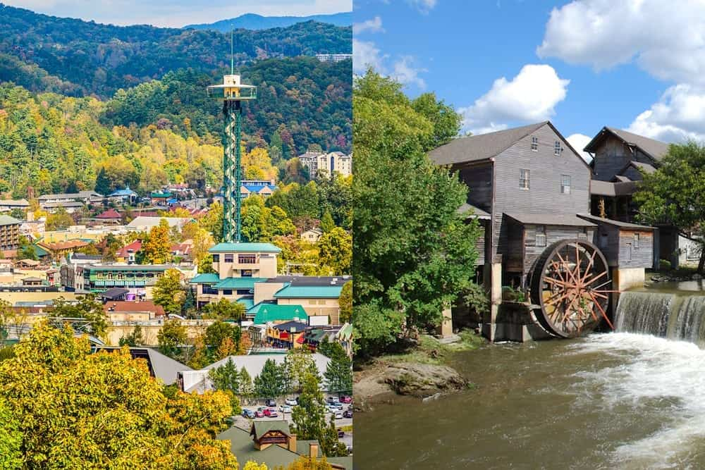 Split screen of Gatlinburg vs Pigeon Forge.