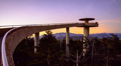 Clingmans Dome obsefvation tower at sunset