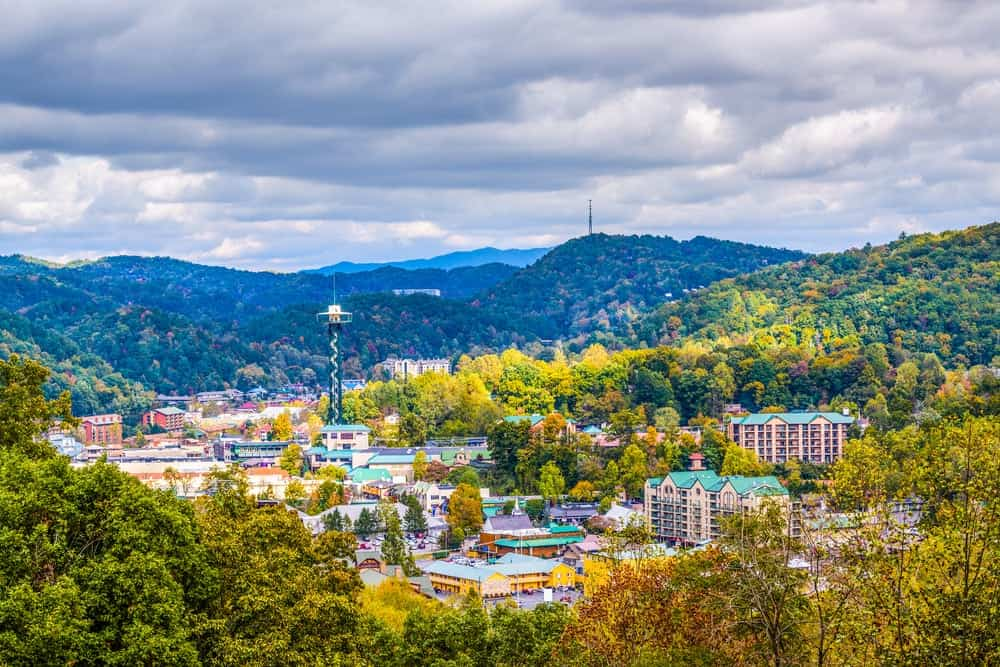 downtown gatlinburg aerial view