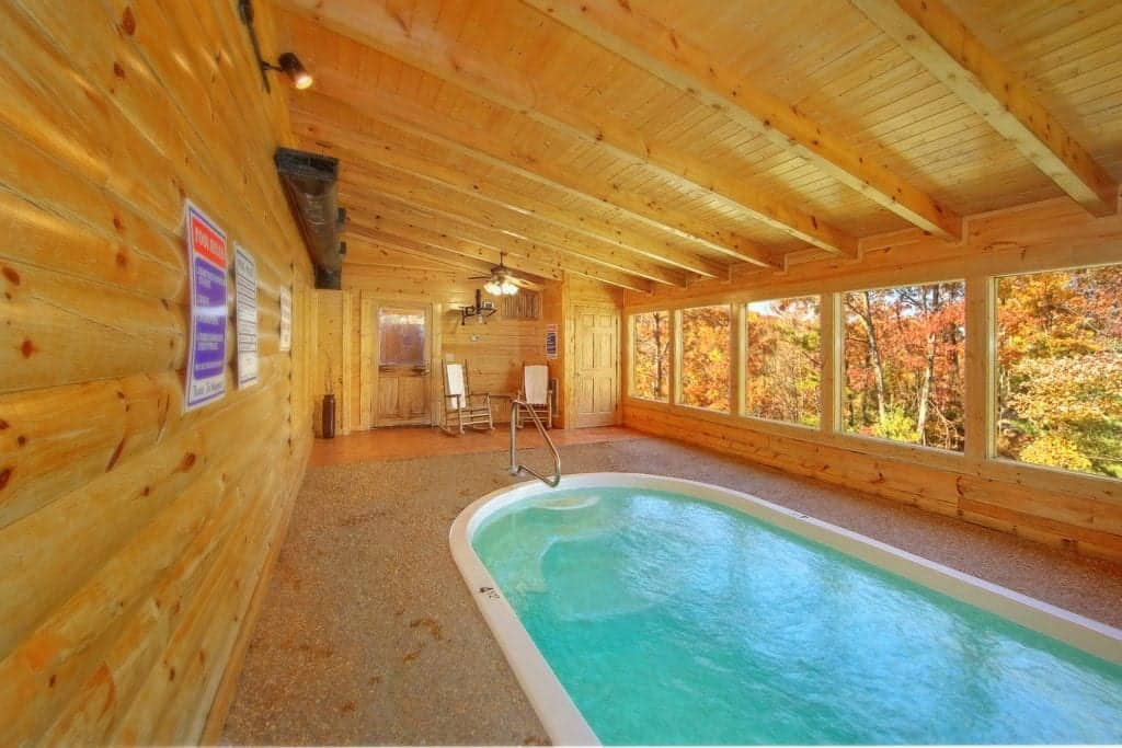 indoor pool in cabin