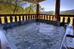 hot tub at secluded cabin