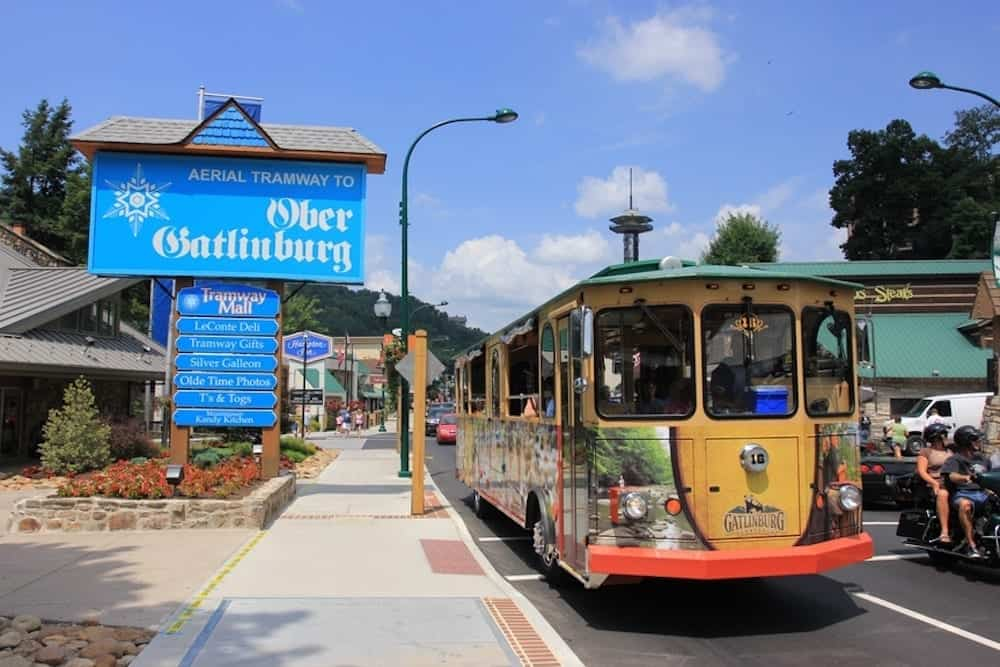 trolley outside of ober gatlinburg sign