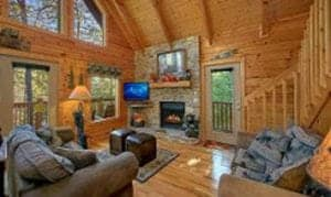 boulder bear lodge living room with fireplace