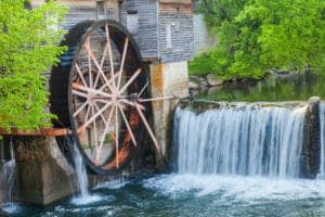 old mill wheel in pigeon forge