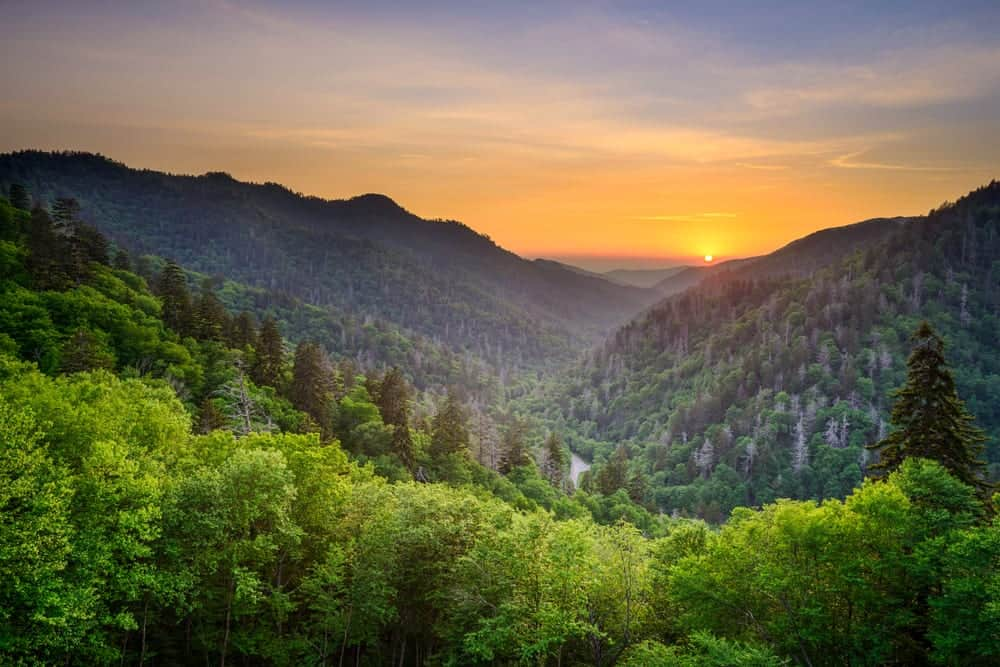 sunset in the smoky mountains in summer